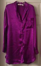 Vintage Victoria's Secret big shirt nightgown, magenta, button down, size M, EUC