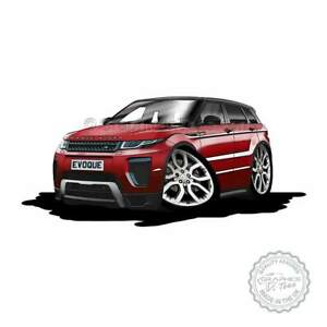 Range Rover Evoque Firenze Red Car Cartoon Caricature A4 Print Personalised Gift