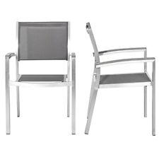 Coppia di sedie da esterno alluminio spazzolato e textilene arredo giardino