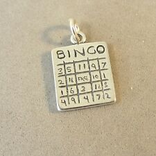 .925 Sterling Silver 3-D BINGO CARD CHARM NEW Pendant Game Double Sided 925 HB20