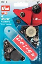 Prym Anorak Druckknopf Druckknöpfe 20mm silber mit Werkzeug 390513