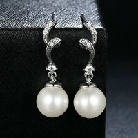 Solid 925 Sterling Silver Clear CZ &White Freshwater Pearl Ear Dangle Earrings