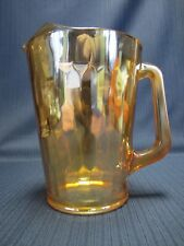 "JEANNETTE  MARIGOLD CARNIVAL GLASS HONEYCOMB 9"" ICE LIP PITCHER"