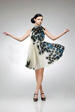 Versatile Silk Pleated Dress - White with Turquoise