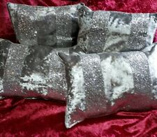 set of 4 ice silver crushed velvet and glitter stripe cushions