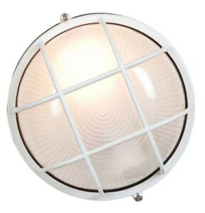 Access Lighting Nauticus 1Light White Outdoor Bulkhead Light Frosted Glass Shade