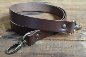Replacement Leather Shoulder Bag Strap19mm wide 900mm long, antique brass clasps