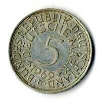 Moneda Alemania 1969 D 5 marcos plata .625 silver coin Deutsche Marck