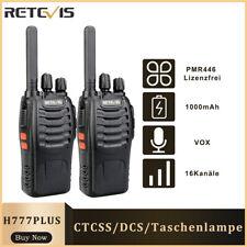 Retevis H777PLUS PMR446 Lizenzfrei Funkgeräte 16CH 1000mAh Walkie Talkie VOX
