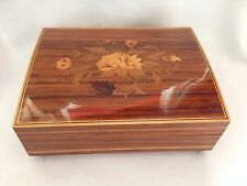VINTAGE LACQUER WOODEN MUSIC FLOWERS JEWELLERY BOX TOYO