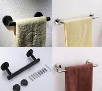 304 Stainless Steel Towel Holder Single Rail Rack Hanger Wall Mounted Shelf Bath