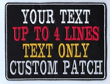 LARGE CUSTOM TEXT PATCH PERSONALISED SEW ON FELT BIKER SCOOTER BUY 5 PAY FOR 4!!