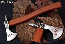 "Handmade Carbon Steel Acid Etching 17.25"" Axe Poplar Wood Handle W/Sheath SW-143"