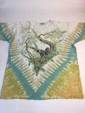 Vtg Liquid Blue Tie Dye Jungle All-over Print Xl Tee - Gorillas Wild Animals