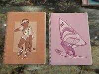 2 1970's TOUCHABLES textured spiral bound theme School NOTEBOOK tennis Skier