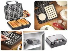 1000W DUAL Cialda Belga MAKER ANTIADERENTE FERRO 2 FETTE MACCHINA per Waffle Quadrata