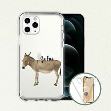 Donkey Phone Clear Transparent Personalised Name Clear Front Back Case Cover