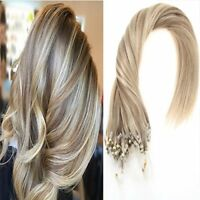 Micro Ring Beads Human Hair Extensions Ombre Micro Loop Hair Blonde Highlights