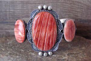 Navajo Indian Jewelry Sterling Silver Spiny Oyster Bracelet -K. Billah