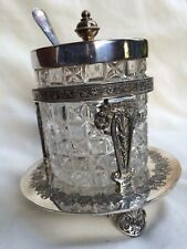 Vintage Walker & Hall Silver Plate Crystal Preserve Pot Jar.