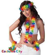 Les adultes Tropical Rainbow HAWAIIAN HULA Set Fancy Dress Party Accessoires Costume