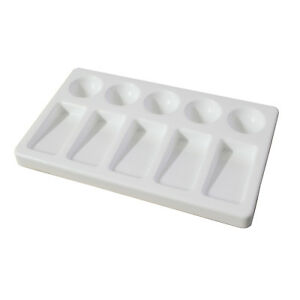 White Plastic Paint Mixing Palette with 5 Sloping Wells & 5 Circular Wells