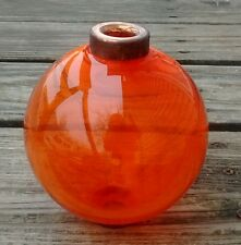Orange Round Glass Lightning Rod Ball Home Den Garage Farm Yard Decor