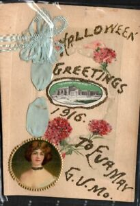 Antique HALLOWEEN Postcard  G. V. Missouri  REAL RIBBON  GLITTER  EVA MAY   1916