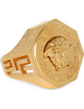 Versace Octagonal Greca & Medusa Ring (Colour: Gold) *** PRICE DROP ***