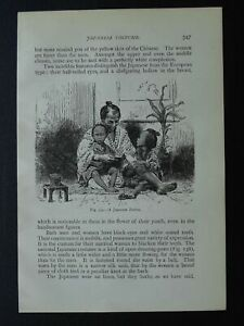 Japan A JAPANESE FATHER WITH CHILDREN Original Victorian Print by Figuier c1893