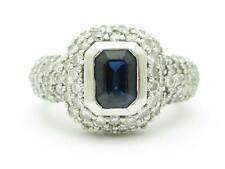 14kt White Gold Genuine Sapphire & Diamond Ring