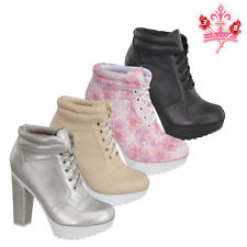 New Women High Heel Lace Up Chunky Party Causal Low Booties Platform Shoes Boots