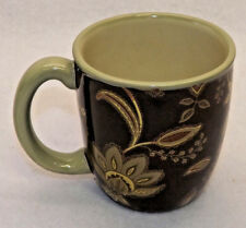 Jaclyn Smith Traditions Turkish Black Floral Coffee Mug Tea Cup 13 Oz. Set of 14