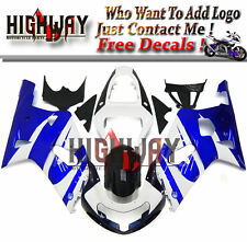 Body For Suzuki GSXR600 750 2000-2003 01 ABS Kit Bodywork Fairings Blue White VV