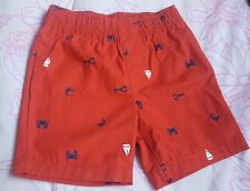 24 mo Carters Baby Boy Sailboat lobster crab shark RED Shorts Denim Used Once