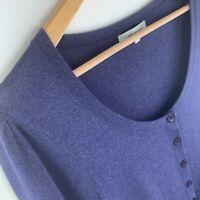 VERONIKA MAINE Navy Blue Cardigan Scoop Neck Short Sleeves Size Large Cotton EUC