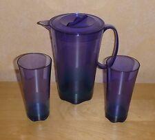 Tupperware Eleganzia Blaue Lagune - Kanne und 2 Gläser - Rarität - blau/grün NEU