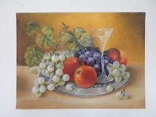 Gemälde,Öl auf Leinwad,Stillleben mit Obst,Glas Wein,Original,30x40