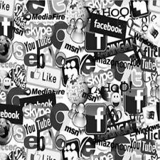 Wassertransferdruck Folie Social Media - 50cm breit
