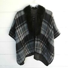 Marcus Adler Gray Black Pink Plaid Women's Open Poncho Shawl Faux Fur One Size