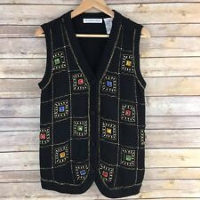 Victoria Jones Womens Sweater Knit Vest Bling Sequins Ugly Tacky Size Small