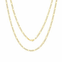 """10K Yellow Gold Solid 4mm Diamond Cut White Pave Figaro Chain Necklace 16""""- 30"""""""