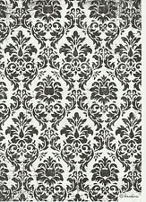 Rice Paper for Decoupage Decopatch Scrapbook Craft Sheet Black & White Wallpaper