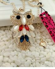 Betsey Johnson Necklace Patriotic Owl 🦉 Red White Blue /adorable Owl