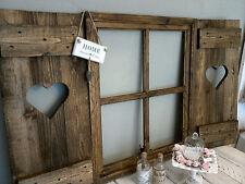 Angebot Shabby Fensterladen Herz Sprossenfenster Deko  Foto-Rahmen braun-vintage