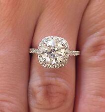 2.50 CT ROUND CUT D/SI1 DIAMOND HALO ENGAGEMENT RING ENHANCED 14K WHITE GOLD