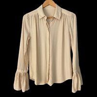 FRAME Small S Ivory Swiss Dot Blouse Bell Sleeve 100% Silk
