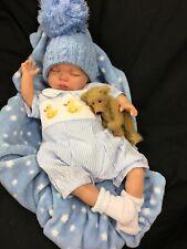 GORGEOUS NEWBORN REBORN BABY BOY SPANISH SMOCKED DUCK ROMPER M