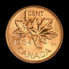 (2-coins) 1964  Canada   1 cent     UNC. coin from roll