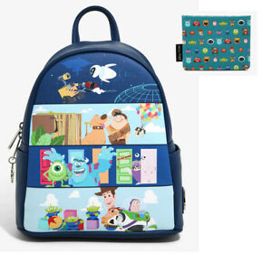 Loungefly Disney Pixar UP Toy Story Monsters Wall-E Backpack Bag &Cardholder NEW